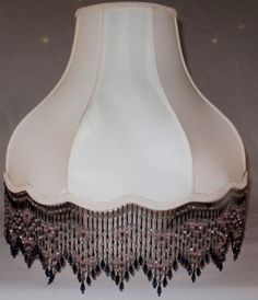 Beaded Umbrella Bell Scallop Bottom Silk Vintage Lamp Shade Style Cream Or White 5