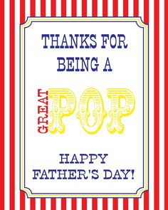 """""""Thanks for being a great POP!"""" -- FREE Father's Day Popcorn Party Printables"""
