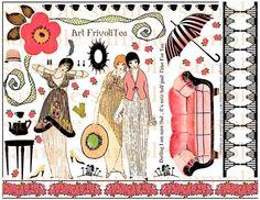 ★ Tea Time   ART TEA LIFE Jane Austen Meets Art Deco Frivoli Tea Collage