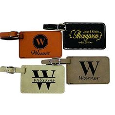 Personalized Leather Luggage Tags - Engraved Business Travel Accessories Gift