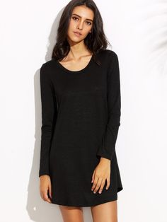 Shop Black Round Neck Long Sleeve Shift Dress online. SheIn offers Black Round Neck Long Sleeve Shift Dress & more to fit your fashionable needs.