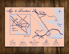 Custom Designed Wedding Map & Directions   St. Anne's Church in Historic Annapolis, MD Gibson Island Club   Printable .pdf file or printed services via Etsy by Distinctive Directions