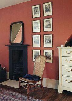 Book Room Red, Farrow & Ball by socorro Farrow Ball, Farrow And Ball Paint, Bedroom Orange, Bedroom Red, Interior Walls, Interior And Exterior, Interior Design, Red Interiors, Colorful Interiors