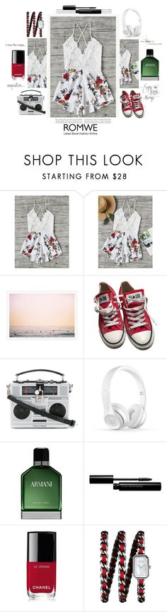 """""""ROMWE Romper"""" by stormwlf ❤ liked on Polyvore featuring Converse, Dolce&Gabbana, Armani Beauty, shu uemura, Chanel, romwe, romper and contestentry"""