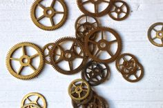 Vintage brass clock gears, steampunk supplies by allthatglittersbeads on Etsy