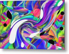 Metal Print featuring the digital art Bold And Wild - a digitally created abstract by rd Erickson