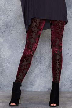 Burned Velvet Burgundy Floral Leggings - PRESALE ($80AUD) by BlackMilk Clothing
