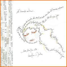 Calligramme poème. Illustration aquarelle, collage et encre de chine. site : http://www.papier-couleur-interieur.com/carré-d-illustration/