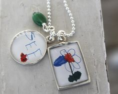 I ADORE this idea! Customize a necklace with your little one's own artwork!
