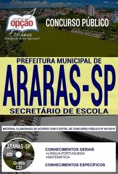 Apostila Concurso Prefeitura De Araras 2019 Secretario De Escola