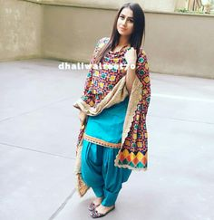 Sky blue suit with unique phulkari design                                                                                                                                                                                 More