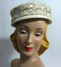Sequin Banded Ivory Pillbox Cocktail Hat circa 1960s - Dorothea's Closet Vintage