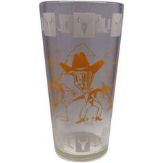 Hazel Atlas Cowboy Cowpoke Drinking Glass Tumbler Orange White