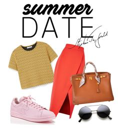 """date of summer"" by omahtawon ❤ liked on Polyvore featuring MANGO, C/MEO COLLECTIVE, adidas, Hermès, statefair and summerdate"