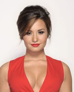 sideswept-bangs updo on Demi Lovato. The height of hair can also help create a more-flattering oval look. Older Women Hairstyles, Hairstyles With Bangs, Cool Hairstyles, Bangs Updo, Hairstyle Ideas, Long Haircuts, French Hairstyles, Bouffant Hairstyles, Beehive Hairstyle