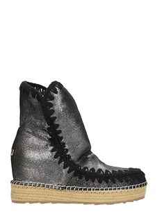 MOU   Mou Mou Eskimo Inner Ankle Boots In Glitter Black Suede #Shoes #Boots #MOU