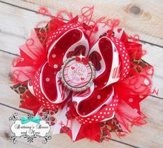Wild about you Valentines OTT Hair Bow on Etsy, $14.00