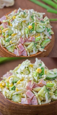Made with fresh cabbage, cucumbers, ham, corn & scallions. This tasty, crunchy Cabbage & Ham Salad is packed with vitamins & makes a quick lunch or side dish.Cabbage ham salad- without the corn it looks delicious! Healthy Dinner Recipes, Diet Recipes, Healthy Snacks, Healthy Eating, Cooking Recipes, Ham Recipes, Cucumber Recipes, Tasty Food Recipes, Cucumber Ideas