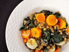 Lentil & Carrot Salad with Kale, replace chicken stock with veggie stock, skip the oil