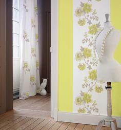 Collection DOLCE VITA. Élegance, souvenir, brocante, shabby-chic, papier-peint, jaune, blanc, fleurs, nature