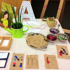 Part of a table display I set up for parents at our School Council meeting tonight to introduce the new Kindergarten Program. Kindergarten Literacy, Preschool Classroom, Early Literacy, Reggio Emilia Classroom, Reggio Inspired Classrooms, Alphabet Activities, Classroom Activities, Letter Sound Activities, Writing Area