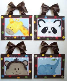 These are for sale but easy enough to make - brown frames decorated - fabric for the animals & brown ribbon - cute for kids room