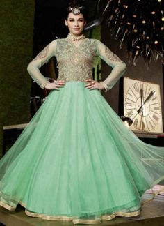 Dazzling Turquoise Embroidery Work Net Anarkali Suit http://www.angelnx.com/