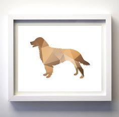 Taupe brown dog silhouette art print, geometric dog wall art dog lover gift…