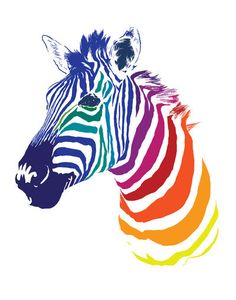 Rainbow Zebra Art Print. I want to paint this on a big, white, square canvas.
