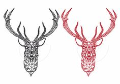 Christmas deer head with abstract geometric pattern, stag, reindeer, digital clip art, clipart set, drawing, Xmas, vector, instant download
