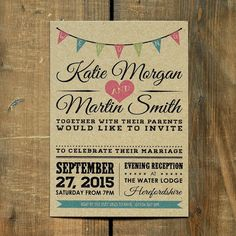 Vintage Bunting Kraft Wedding Invitation - Day Evening RSVP Rustic Barn Retro in Home, Furniture & DIY, Wedding Supplies, Cards & Invitations | eBay