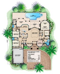 Sirocco house plan: home floor plan with Mediterranean-Tuscan style architecture, large living room, zero-corner glass doors, outdoor living areas, swimming pool, optional guest cabana. Designed to focus on waterfront views.