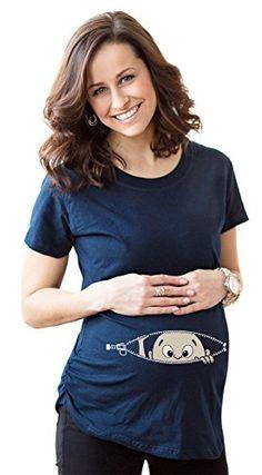 Women's Caucasian Baby Peeking T Shirt Funny Maternity Tee XXL