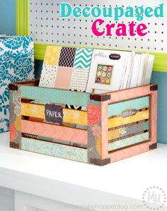 DIY Decoupaged Crate 2019 Make this pretty Decoupaged Crate with paper from the HomeMade line! Michele from The Scrap Shoppe shows us how! The post DIY Decoupaged Crate 2019 appeared first on Paper ideas. Scrapbook Paper Storage, Scrapbook Organization, Craft Organization, Scrapbook Rooms, Organizing Tips, Scrap Paper Storage, Crate Paper, Craft Room Storage, Diy Storage