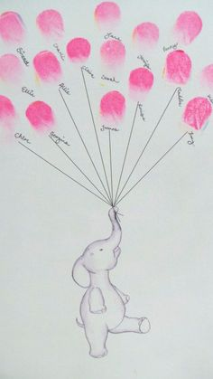 Baby shower scrapbook keepsake art elephant keeps fingerprint balloons nursery art baby decor custom art baby shower activity print babyparty Idee Baby Shower, Shower Bebe, Baby Shower Themes, Baby Boy Shower, Baby Shower Gifts, Shower Ideas, Baby Decoration, Baby Shower Scrapbook, Baby Dekor