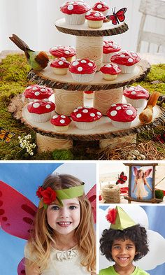 Woodland Fairy Tale Birthday Party -- LOVE the cupcake stand made from a tree and the mushroom cupcakes. Fairy Birthday Party, Birthday Party Themes, Birthday Ideas, Cake Birthday, Outdoor Birthday, Winter Birthday, Garden Birthday, Bear Birthday, Animal Birthday