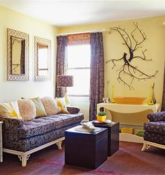 Beachnut Lane: Soft yellows from Benjamin Moore~ Hawthorne Yellow, Weston Flax, Concord Ivory! Creamy yellow with pop of soothing purple. Light Yellow Walls, Room Colors, Purple Rooms, Living Room Decor, Living Room, Paint Colors For Living Room, Living Room Wall, Room Paint Colors, Room Paint