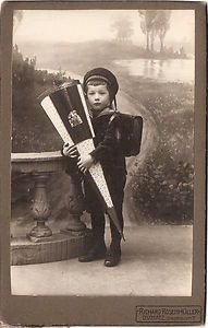 Vintage cabinet card of German school boy in sailor suit