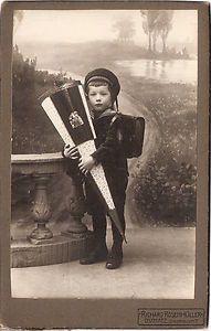 Vintage cabinet card of German school boy in sailor suit