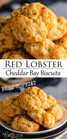 These Cheddar Bay Biscuits taste just like the famous recipe from Red Lobster! The batter recipe takes 10 minutes to make and you can even use Bisquick. Side Dishes Easy, Side Dish Recipes, Easy Dinner Recipes, Appetizer Recipes, Easy Meals, Appetizers, Work Meals, Copycat Recipes, New Recipes