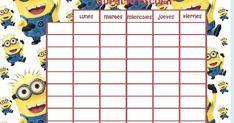 Imprimir horarios escolares de minions , apunta todas tus asignaturas en estos divertidos horarios escolares con los minions en tamaño foli... Precious Moments Figurines, Pixie, Printables, In This Moment, Disney, Birthday, Baby, Ideas, School Schedule