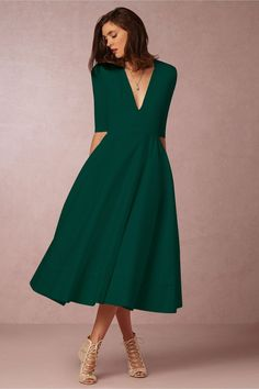 Chicloth A-line V Neck Half Sleeve Midi Party Dress(In Stock) – Women Fashion Casual Party Dresses, A Line Prom Dresses, Party Dresses For Women, Evening Dresses, Short Dresses, Dress Prom, Dress For Party, Dress Wedding, Maxi Dresses