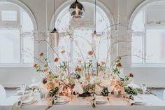Wedding floral centerpieces - Elegant meets Wild Wedding Inspiration at Moana Hall – Wedding floral centerpieces Floral Centerpieces, Wedding Centerpieces, Floral Arrangements, Wedding Decorations, Centrepieces, Floral Wedding, Wedding Flowers, Modern Wedding Inspiration, Wedding Table Settings