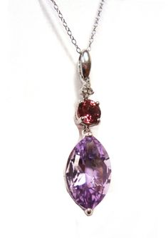 SAVVY CIE White Diamond, Pink Tourmaline and Amethyst Pendant