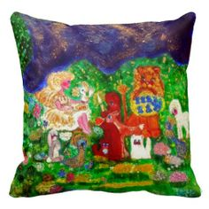 Angels in the Enchanted Forest Designer Art Pillow by artist Marie-Jose Pappas of Innocent Originals