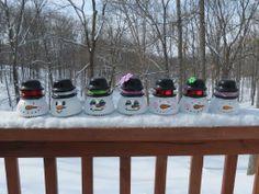 Snowmen painted on Vintage Glass Insulators Diy Christmas Presents, Christmas Decorations, Christmas Ornaments, Snowman Crafts, Holiday Crafts, Christmas Recipes, Snowman Faces, Snowmen, Solar Light Crafts