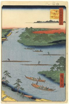 Hiroshige - One Hundred Famous Views of Edo Summer 70 The mouth of the Nakagawa River (中川口 Nakagawaguchi?)Onagigawa Canal, Nakagawa River, Shinkawa CanalNakagawa River is the broad waterway in the middle running left-right[nb 4]1857 / 2