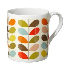 Orla Kiely: These mugs would compliment any retro or contemporary home and would make a perfect gift. This mug has a capacity of 250ml.        Microwave / Dishwasher Safe     These mugs are designed and made in the UK.         **Please Note:      Mugs cannot be returned or exchanged.