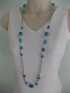 Blue and Silver Long Beaded Necklace by Ralston Originals, on Etsy $18.00.
