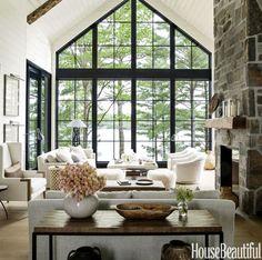 Join me for a tour of Toronto interior designer Anne Hepfer's modern rustic summer lake house in Muskoka, Canada.